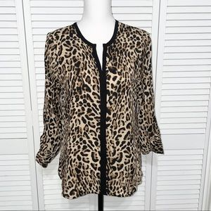 Meraki Long Sleeve Leopard Print V-neck Blouse